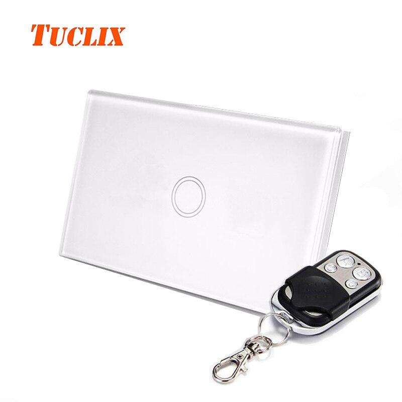TUCLIX NOUS Télécommande Commutateur 1 Gang 1 Voies Noir Standard De Luxe Panneau Verre Cristal Surface Étanche, commutateur de commande à distance