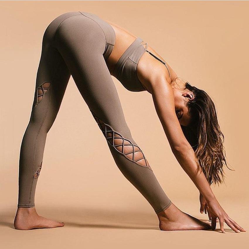 New Cross Strappy Sport Leggings Women 4 Way Stretch High Quality Yoga Pants Medium Waist Entwine Legging Interlace Yoga Legging