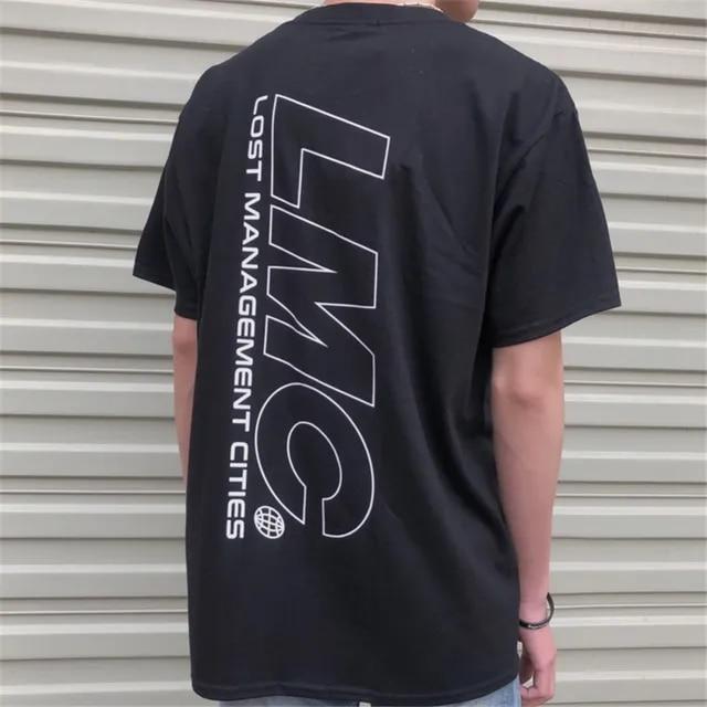 Black/White Large LMC Logo Print Tee 2019 Summer Loose Oversize Hip Hop Cotton Men LMC T-shirts Korean LMC T-shirt Short Sleeve