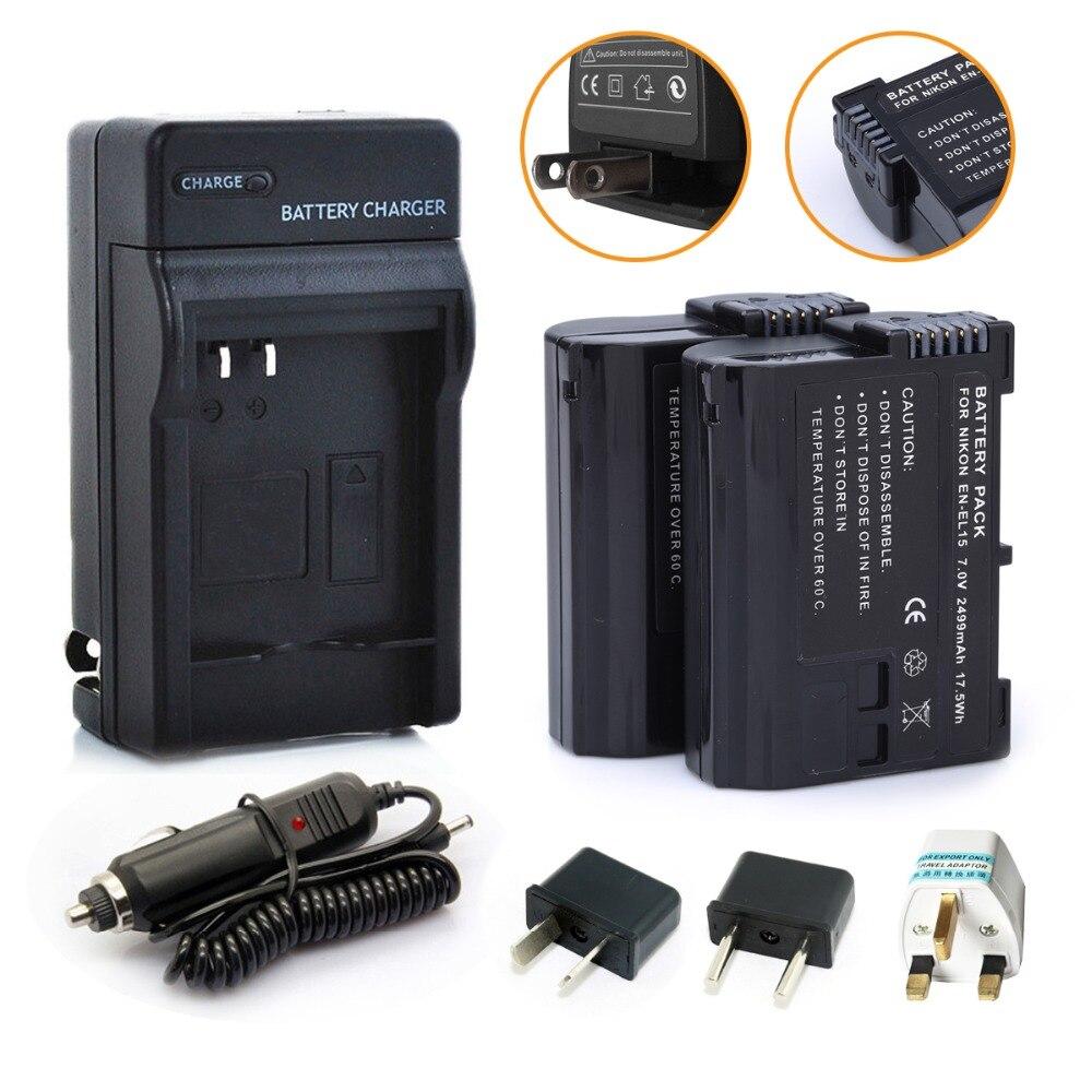 2 шт. Probty EN EL15 EN EL15 аккумулятор + зарядное устройство Комплект для Nikon 1 V1 D600 D610 D750 D800 D810A D810 D800E D7000 D7100 D7200 камера