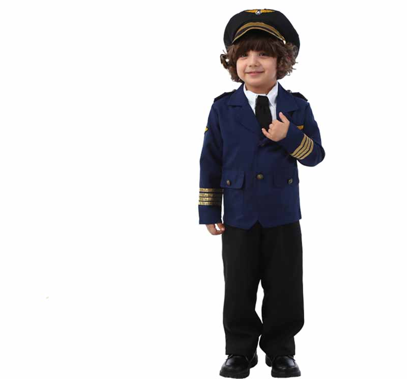 3 12T Kids Boys Policeman Cos Costume Navy Set For Toddler Boys Halloween Captain Pilot Costume