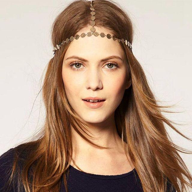 Romantic indian head Hair jewelry Women tiaras Gold Hair Accessories
