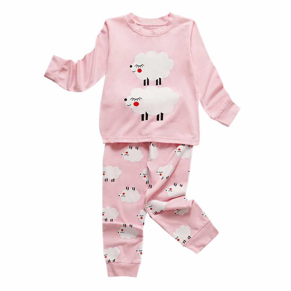 b704a468575b 2pcs Toddler Kids Baby Girls pajama sets Sheep Print Pajamas Sleepwear Tops  Pants Outfits Set Baby