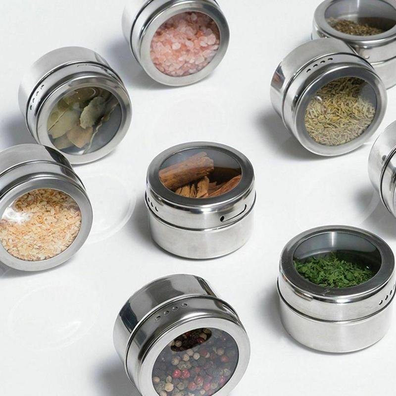 Seasoning Jar Shakers-Container-Set Salt Pepper Spice-Box Kitchen-Gadget Magnetic Indian