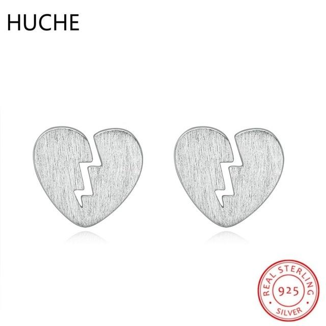 fb17b37a5b79 HUCHE Cute Broken Heart 925 Sterling Silver Stud Earrings for Women Costume  Jewelery Earrings Accessories Bijoux