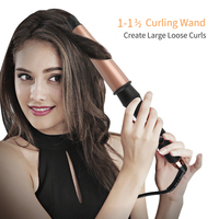 Curling Iron 1 1.5 Inch Professional Dual Voltage Hair Curling Wand with Barrel Cool Tip Auto Shut Off for Long Short Hair 149