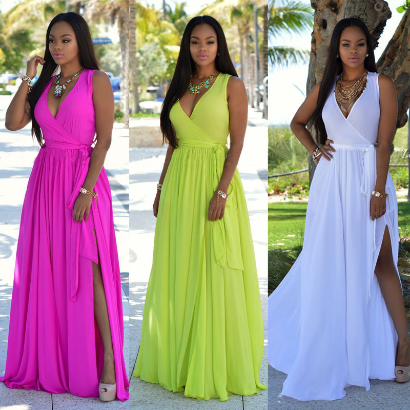 Women Sexy Summer Dress Boho Maxi Long Sleeveless Casual Party Dress Beach Clothing Summer Brief 2016 vestidos largos cruzados de rayas