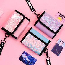 Bentoy Glitter ID Card Holder Wallets Laser PVC Coin Pouch Money Purse Photo Folder Halter Canvas Bags Women Clutch Hanging Neck