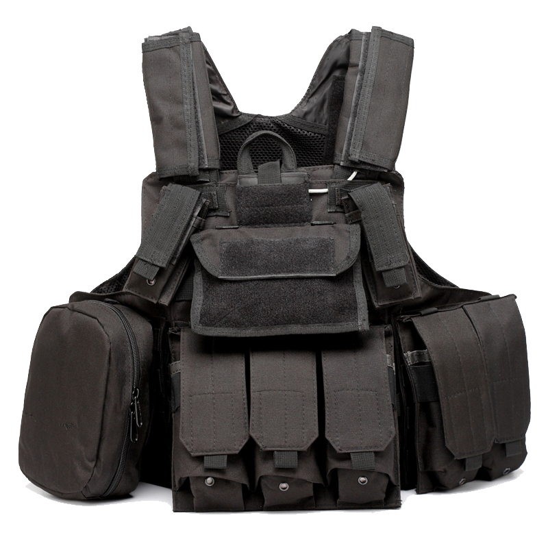 Tactical Molle Vest Strike Plate Carrier Combat Armor Vest W/ Accessory Pouches accessories bag quick tug tactical vest accessory box page 4
