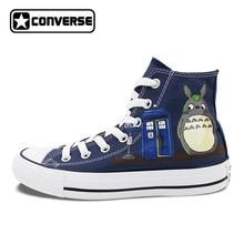 Синие кроссовки Для мужчин Для женщин Converse Chuck Taylor Тоторо Покемон Полиция Box Дизайн ручная роспись Высокая парусиновая обувь для хип-хопа для мальчиков и девочек