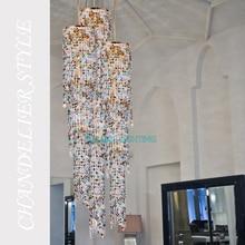 Современный светодиодный хрустальный светильник, роскошная лестница для отеля, большие подвесные светильники, освещение для гостиной, столовой