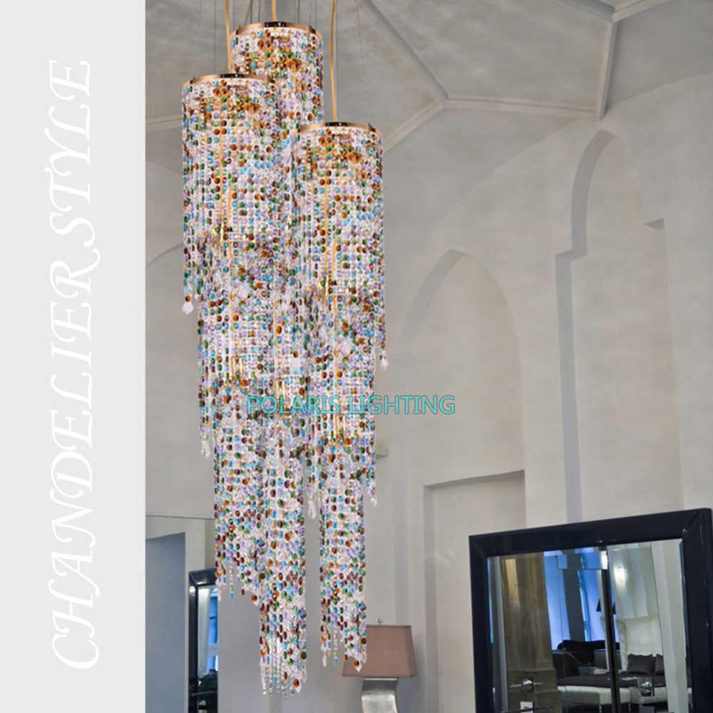 Современная светодио дный светодиодная свинцовая хрустальная люстра освещение роскошный отель лестница большой Cristal подвесные светильники гостиная столовая освещение