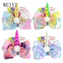 1pcs Girl Hairpin Loving Stars Unicorn Big Bow Polyester Ribbon Daily Wedding Festivals Suitable Wear European Style 880