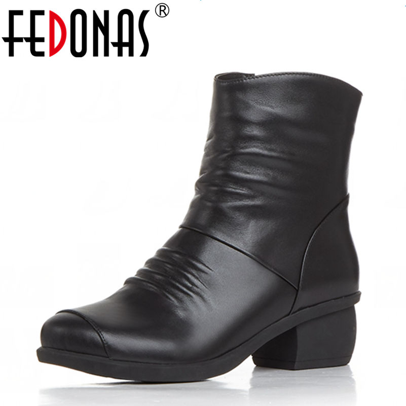 FEDONAS Fashion Autumn Winter Boots High Heels Women Genuine Leather Zipper Style Sexy Ankle Women Motorcycle Boots Shoes Woman