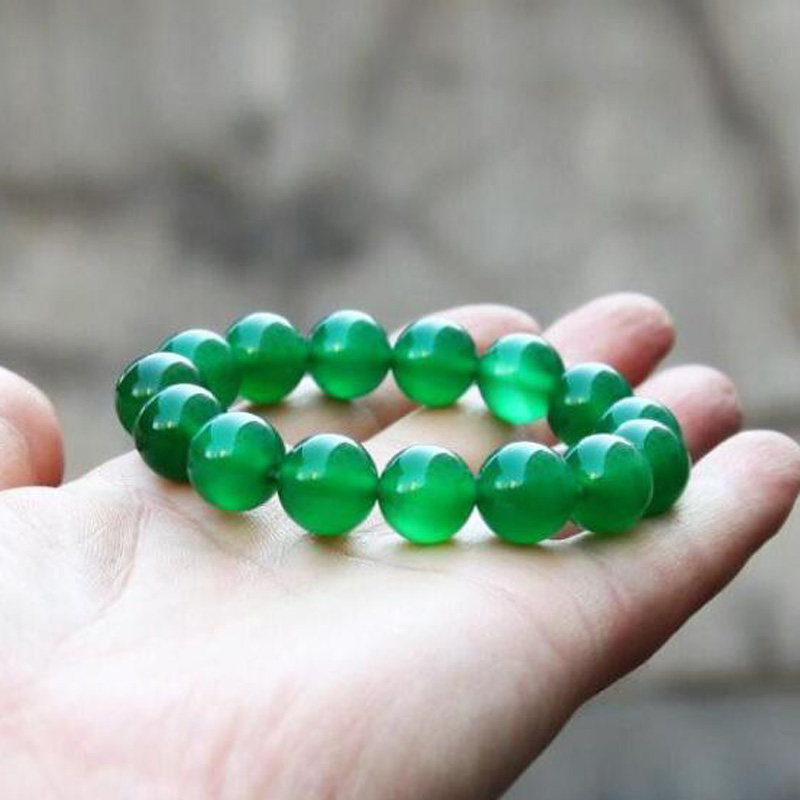Beautiful Jewelry Chinese Green Natural Chalcedony Round Jade Beads Elastic Bracelet Femme