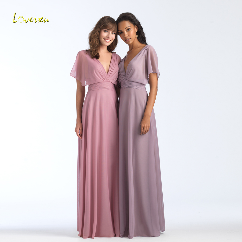 Loverxu Vestido De Festa Longo Sexy Backless A Line Bridesmaid Dresses 2018 V Neck Short Sleeve Chiffon Wedding Party Dress
