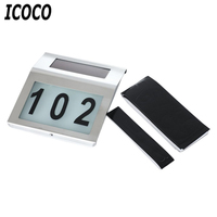 ICOCO Stainless Steel 2LED Solar Powered Doorplate Number Outdoor Billboard Wall Light House Apartment Door Plate