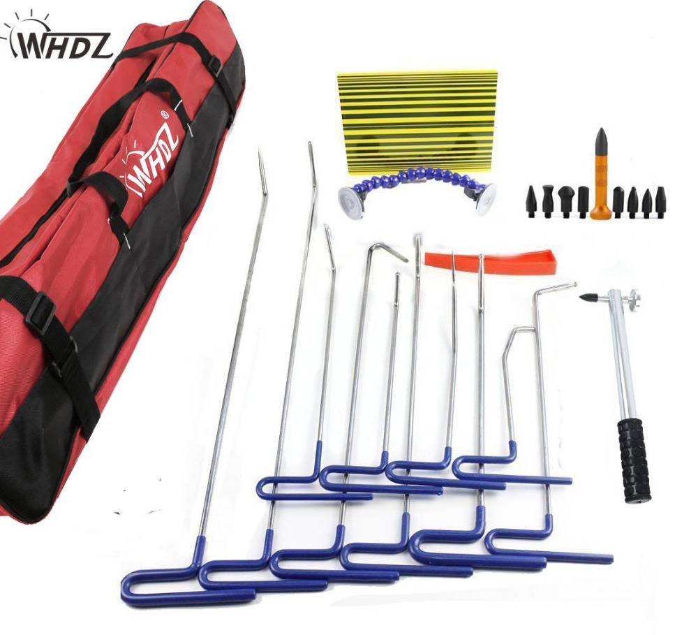 Dent Removal Pdr Rod Tool Kit - Hail and Door Ding Repair Starter Set with Tap Down Dent Puller Auto Car Ding Dent Repair Rod pdr rod tool kit set door ding repair hail damage repair with with 9 heads aluminum tap down dent hammer paintless dent removal