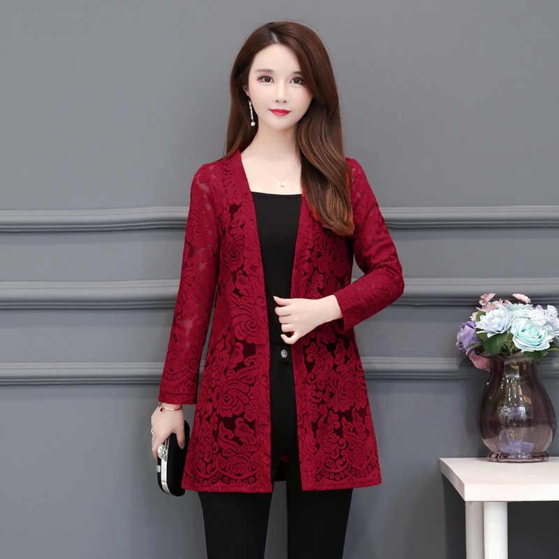 Большой размер 5XL Женская одежда кружевная Солнцезащитная Одежда Женская Длинная летняя рубашка корейский стиль шаль пальто тонкий кардиган блузка