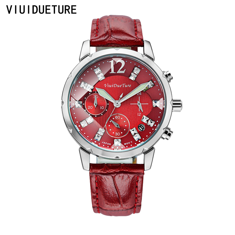 2016 Fashion Brand Watch Women Unique Stylish Quartz Wristwatch Ladies Red Leather Band Luxury Watch 9 colors bayan kol saati