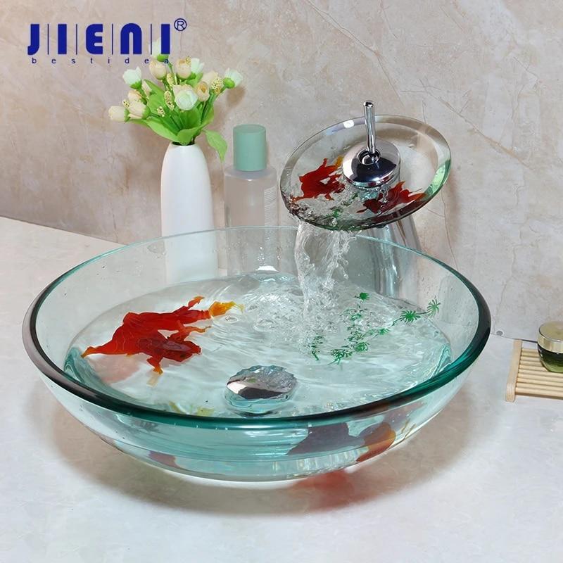 jieni tempered glass bathroom vessel sink waterfall chrome brass faucet combo gold fish art design glass lavatory basin set