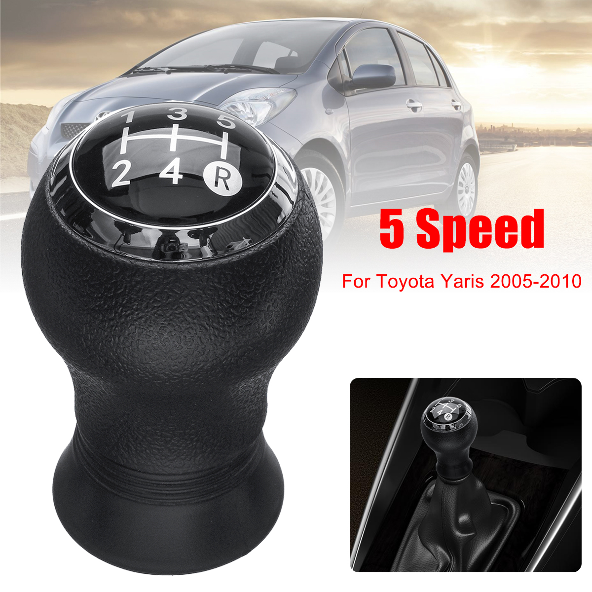 For Toyota Yaris 2005-2010 5 Speed MT Car Gear Shift Knob Head Gear Knob Cover Shifter Lever Stick 1pc new universal car 5 speed mt manual round silicone car gear shift knob cover anti slip case nonslip for chevy hyundai toyota