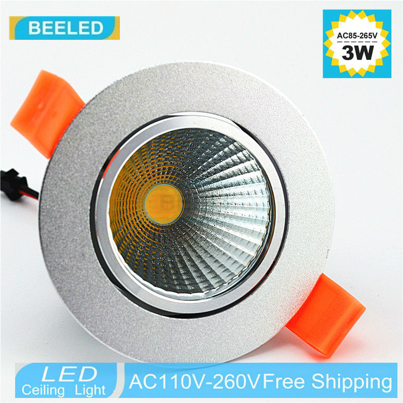 1 x 3w 5w 7w silver aluminum body led cob downlight