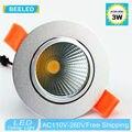 1 X 3W 5W 7W silver aluminum body LED COB downlight Recessed LED Ceiling lights Spot Light Lamp Cool white warm white led lamp