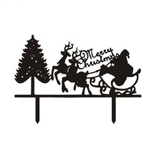 Hot Sale Santa Claus Merry Christmas Cake Flags With Tree Black White Acrylic Topper For Xmas Party Decor