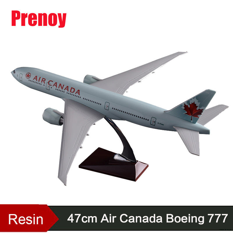 Prenoy 47cm Resin Boeing 777 Canada Airplane Model Canadian Airways Air Canada Airlines B777 Aircraft Stand Plane Model Gift Toy
