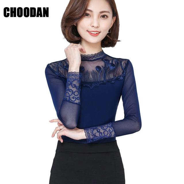 4dcdc91ae8 Camisa de malha Feminina Bordado Elegante de Gola Alta Manga Longa Mulheres  Tops E Blusas New