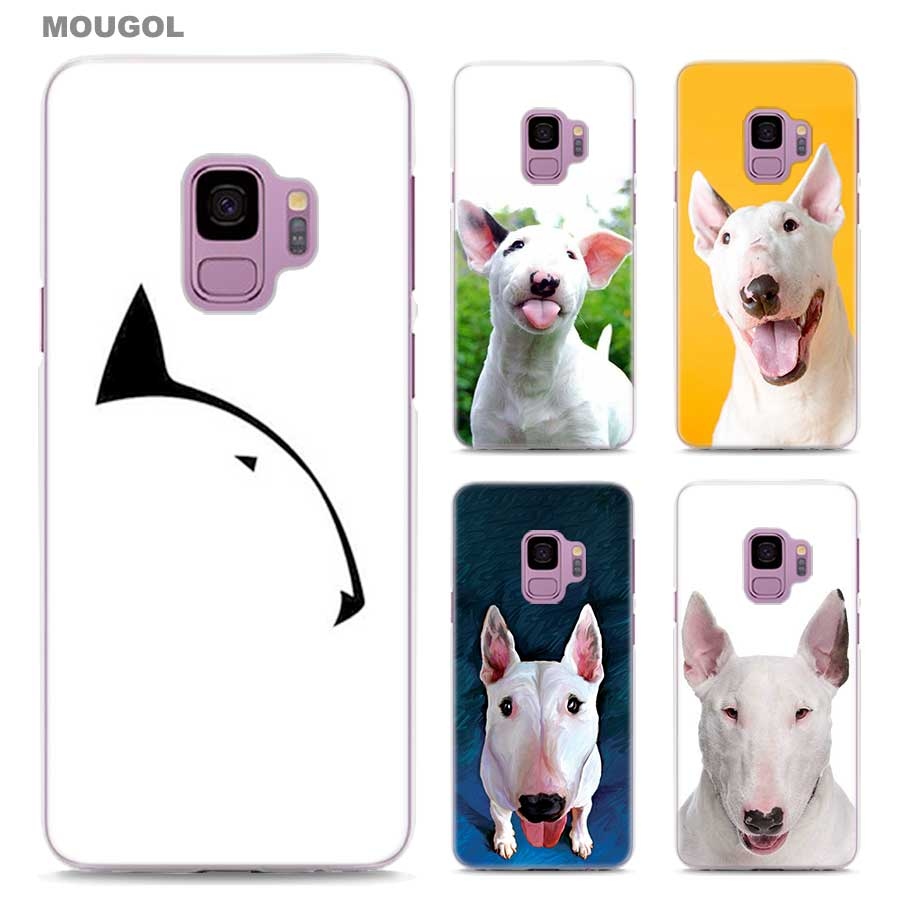 MOUGOL Bullterrier bull terrier design transparent hard Phone Case Cover for Samsung Galaxy S9 S9Plus A8 2018