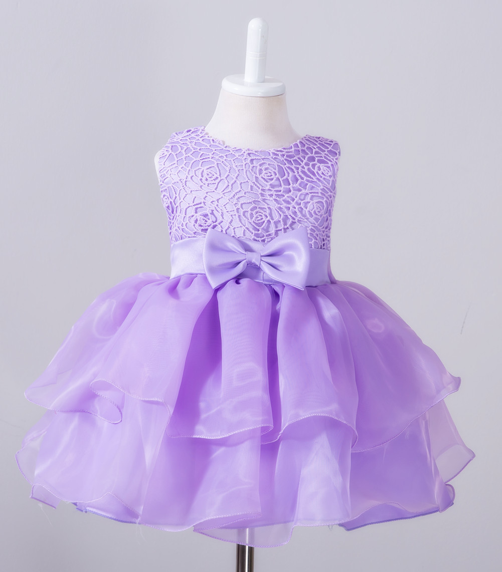 Blue/purple Flower Girl Christening Gowns Baby First Communion Dress ...