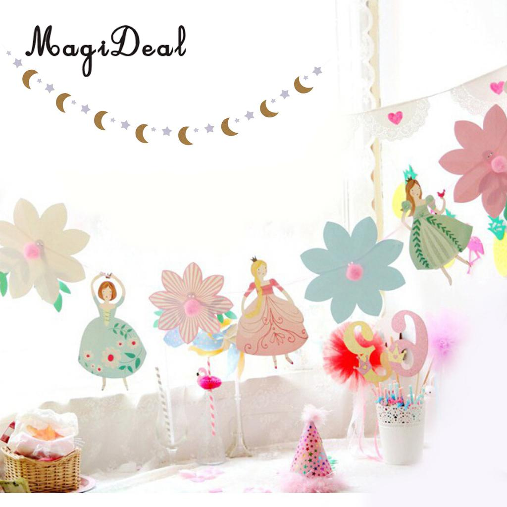 Glitter Moon Star Bunting Garland +30 Pieces Cake Cupcake Topper Wedding Birthday Party Baby Shower Decoration