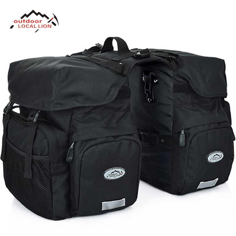 LOCAL LION Mountain Bike Bicycle Bicicleta Bag 50L Rear Carrier Bags Rear Pack Trunk Pannier Package Double Bags With Rain Cover bicycle basket 70l cycling bicycle bag bike double side rear rack tail seat trunk bag pannier with rain cover