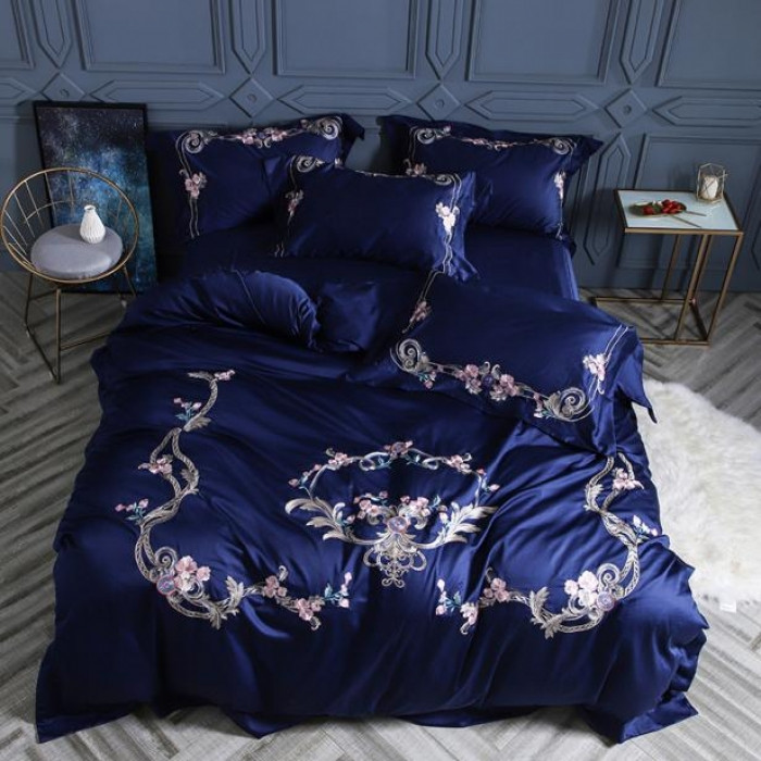 Blue luxury Embroidery bedding set queen/king size stain bed set 4pcs egyptian cotton duvet cover bed sheet setsBlue luxury Embroidery bedding set queen/king size stain bed set 4pcs egyptian cotton duvet cover bed sheet sets