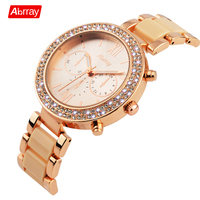 Abrray New Fashion Ladies Steel Watch Luxury Brand Women Watches Rose Gold Wristwatch 2018 Japanese Quartz Movement Reloj Mujer