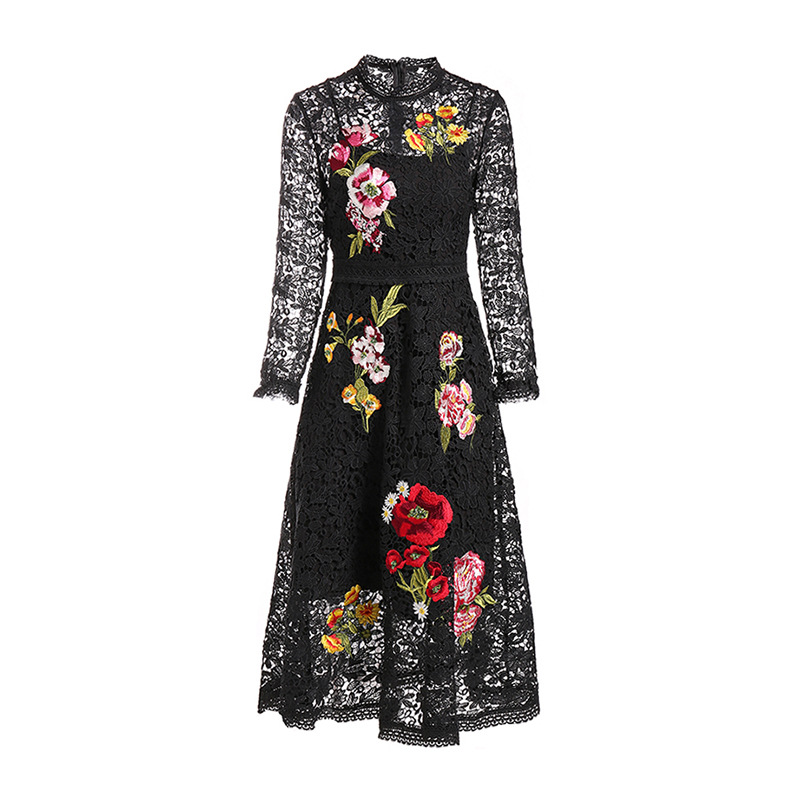High quality lace dress 2019 spring runways embroidery vintage women party D964