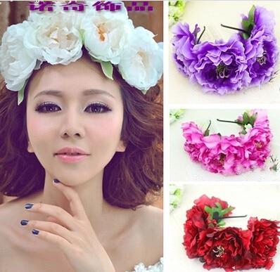 Wholesale Bohemia 15cm heads Large Peony Fowers Headband Photoes Flowers  Hairband Fashion Headware Hair Ornaments d3b872d075f
