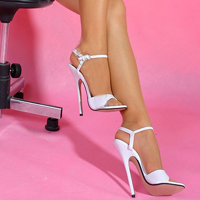 Wire 16Cm Ultra High Heels Plus Size White Lacing Sexy