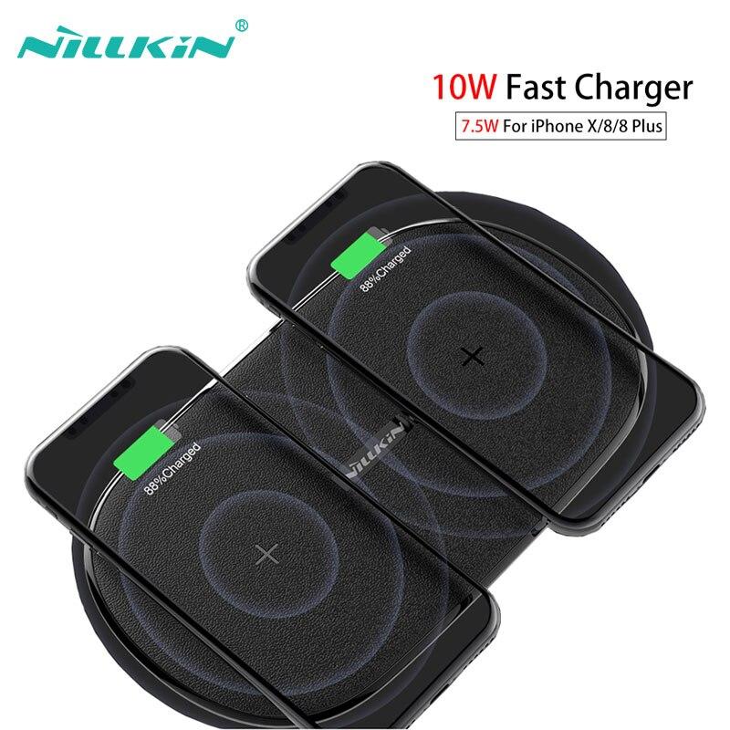 Rápido 2 em 1 10 w 7.5 w Nillkin Carregador Sem Fio Qi Carregamento Sem Fio Pad para iPhone X XS Max XR Para Samsung Nota 9/S9/Note 8/S8