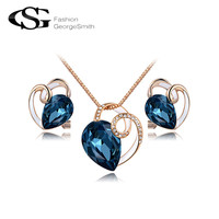 2017 GS Happiness Curved Blue Crystal Cylinder Earrings/Necklace Rose Gold Color Wedding Jewelry Set Romantic Mother's Gift