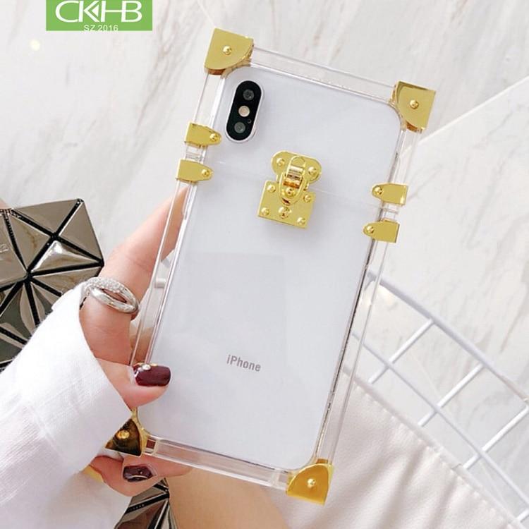 CKHB Métallique Transparent Acrylique Cas Pour iphone Xs X De Mode Cas de Couverture de Cru pour iphone 7 8 Plus Xs Max Funda téléphone Cas