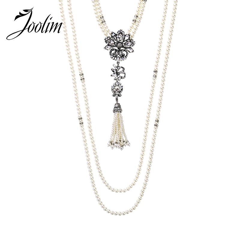 JOOLIM High Quality Long Simulated Pearl Tassel Maxi Necklace Multi-layered Necklace Statement Jewelry Wholesale trendy layered teardrop turquoise geometric chain tassel necklace