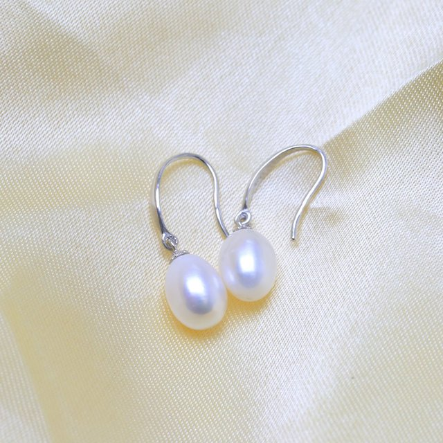 BaroqueOnly Real natural freshwater pearl earrings for women 925 silver jewelry wedding girl birthday gift drop earring