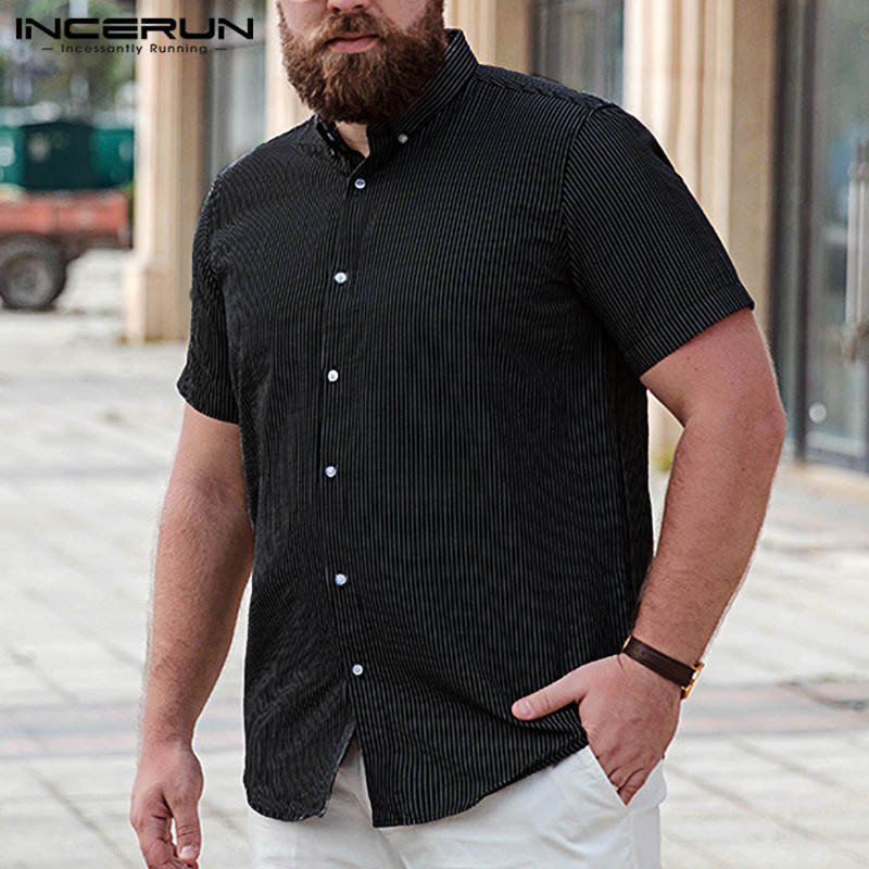INCERUN Summer <font><b>Men</b></font> <font><b>Striped</b></font> <font><b>Shirt</b></font> <font><b>Short</b></font> <font><b>Sleeve</b></font> Lapel Neck Loose Breathable Business Brand <font><b>Shirts</b></font> <font><b>Men</b></font> Camisa Masculina 2019 S-5XL image