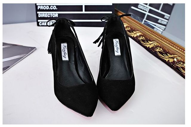 European fashion point toes flock pumps shoes sexy thin heels cut outs TG1383 tassel black red pink female party work shoe
