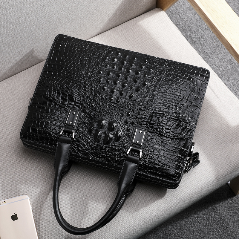 Wmnuo New Briefcase Bag Men Handbag Crocodile Pattern Cow Leather Man Shoulder Messenger Computer Bag Men Crossbody Business Bag - 6