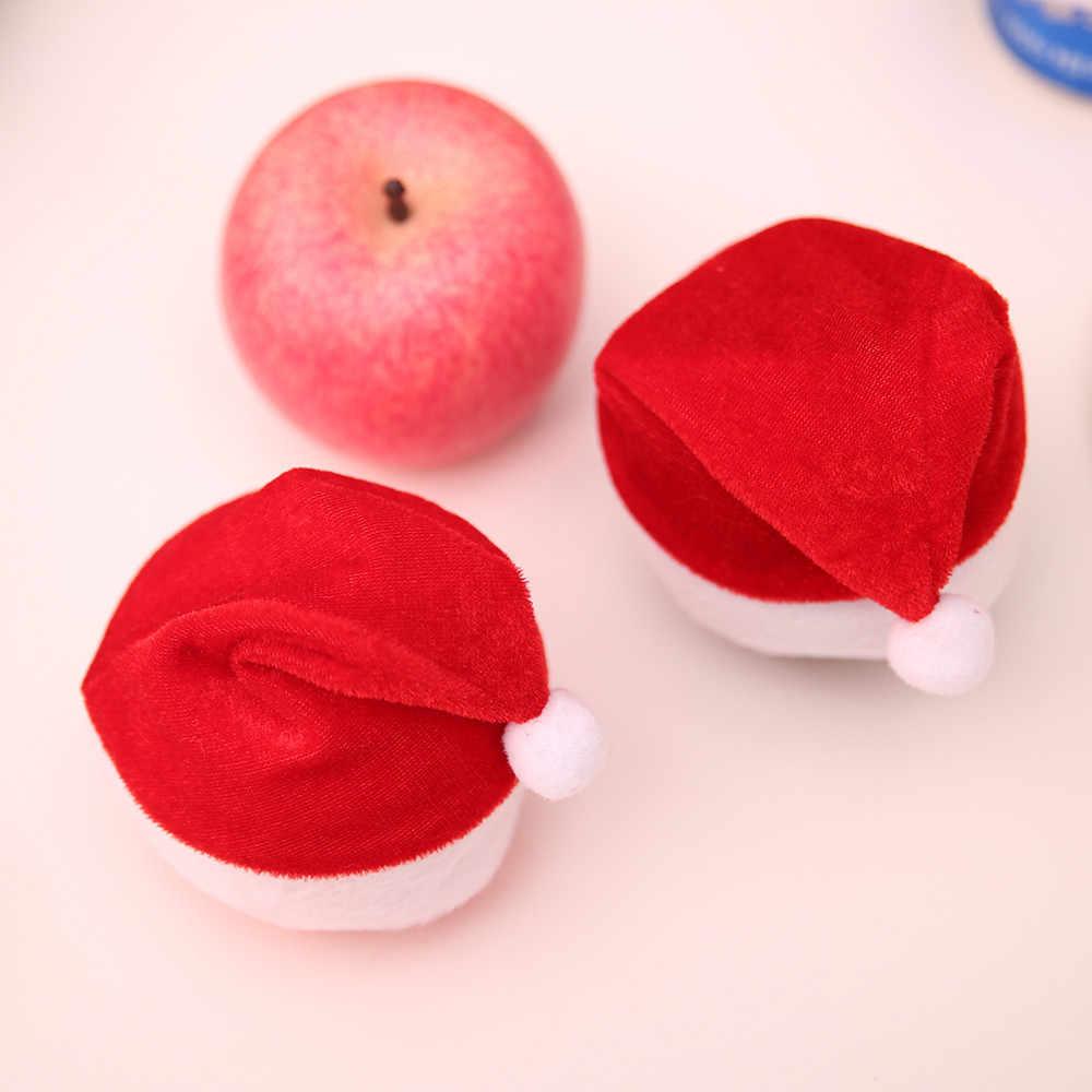 1/6 ชิ้น Mini Christmas Apple ขวดไวน์หมวก Santa Claus หมวกตาราง Xmas ของขวัญเครื่องประดับตกแต่งเด็กผู้หญิงผู้ชายชาย