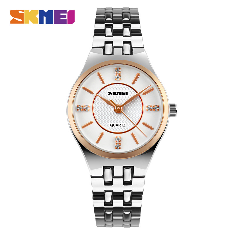 SKMEI נשים שמלה מזדמן נירוסטה קוורץ שעונים אופנה גבירותיי שעונים שעוני יד 30 M עמיד למים פשוט 1133